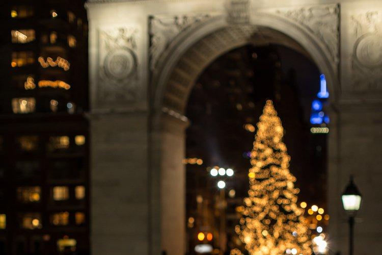 Girl looking on christmas tree example image 1