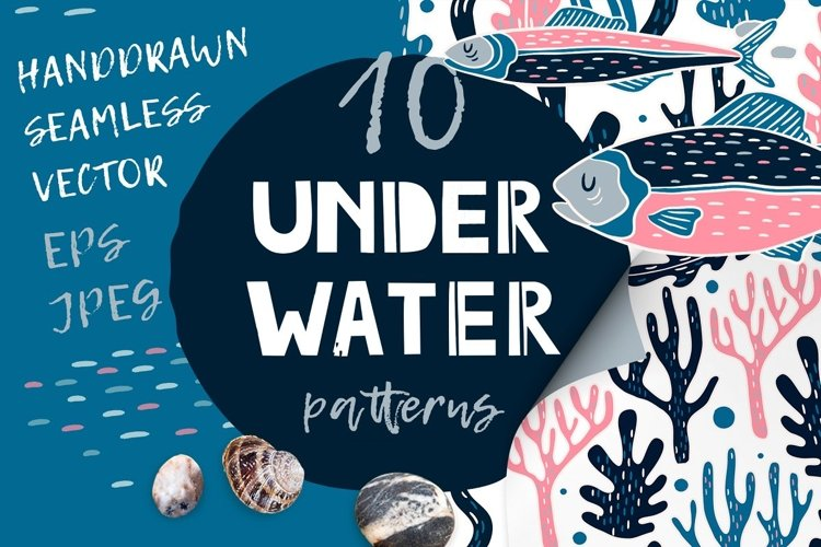 UNDERWATER | Seamless patterns pack example image 1