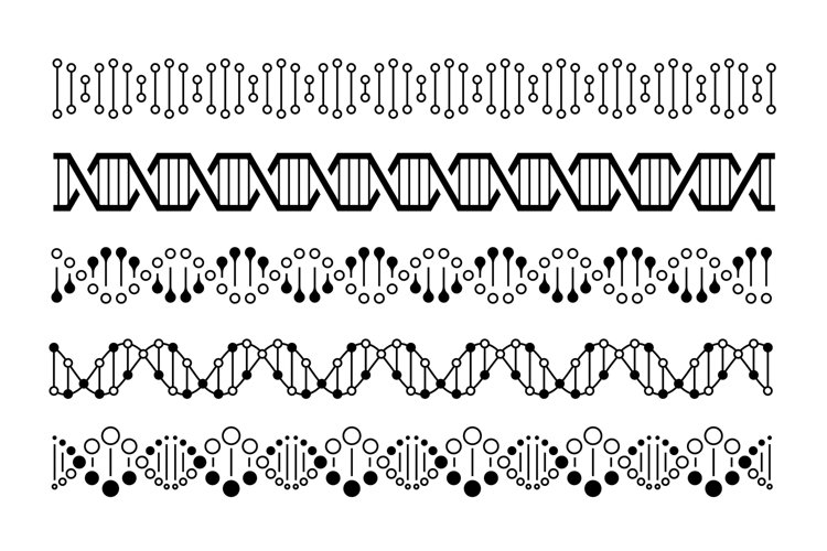 DNA elements. Molecule genome code, chromosome spirals and d example image 1