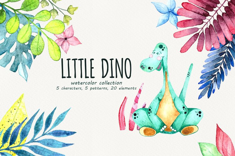 Little Dino - Watercolor set example image 1