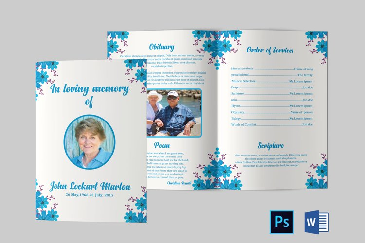 Funeral Program Template | Obituary Template example image 1