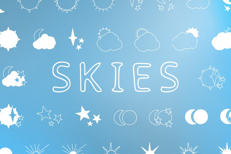Skies - sun, moon and stars magic doodle font example image 1