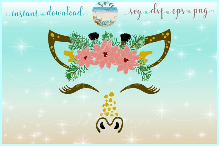 Giraffe Face With Poinsettia SVG Dxf Eps Png PDF Files example image 1