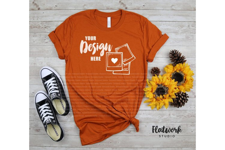 Fall Mock up | Bella Canvas 3001 T-shirt Mock up | Autumn example image 1