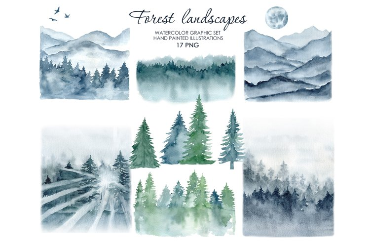 Watercolor forest landscape and mountains clipart.