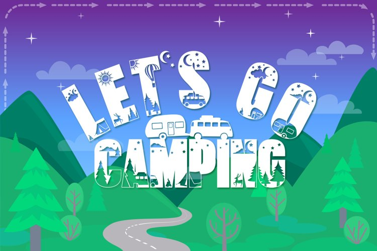 Camping Font with Extras | Hiking Font