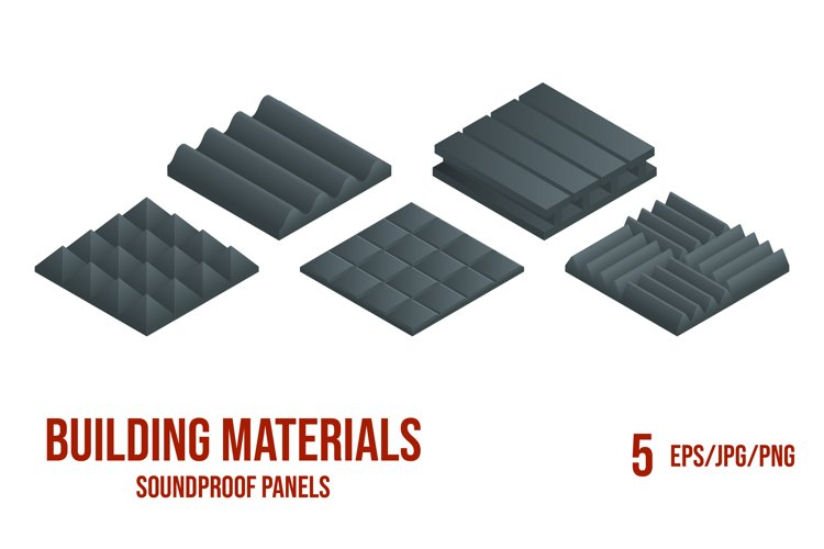 Set of 5 isometric vector illustrations soundproof panels. example image 1