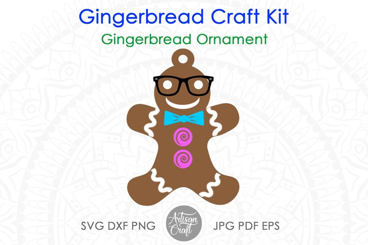 Gingerbread man SVG kit, Christmas paper crafts, clip art example 2
