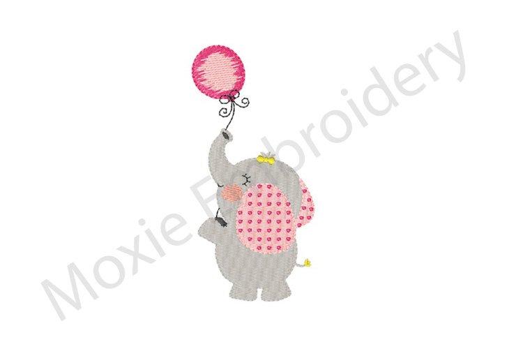 Elephant Embroidery Design, Elephant with Balloon Design example image 1