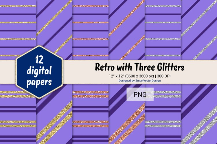 Pinstripes Retro with Three Glitters Color Combo #86 example image 1