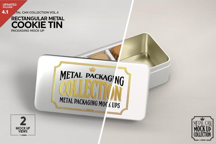 Metal Rectangular Cookie Tin Packaging Mockup