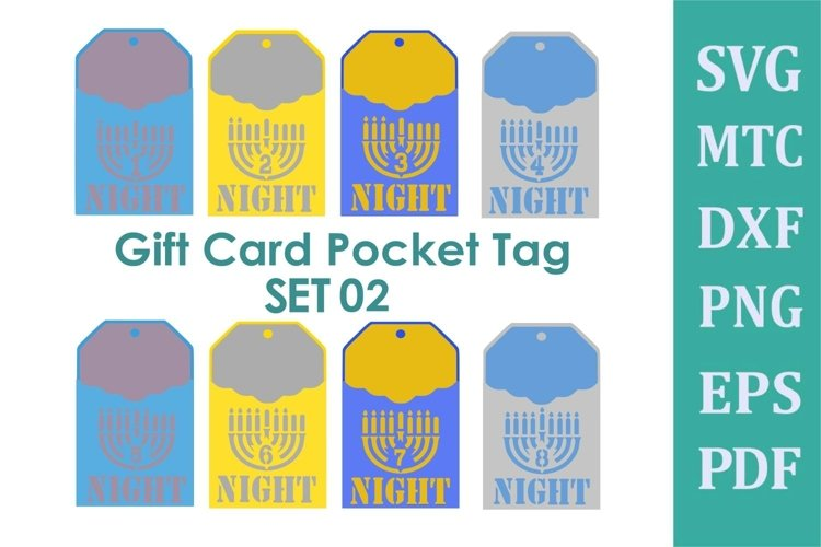 SVG Hanukkah Pocket Scallop Tag Menorah Number Set 2 BUNDLE example image 1