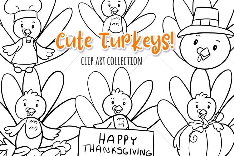 Cute Fall Turkeys Digital Stamps example image 1