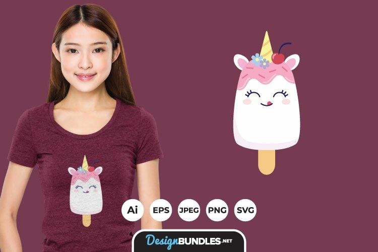Cute Unicorn Ice Cream for T-Shirt Design example image 1