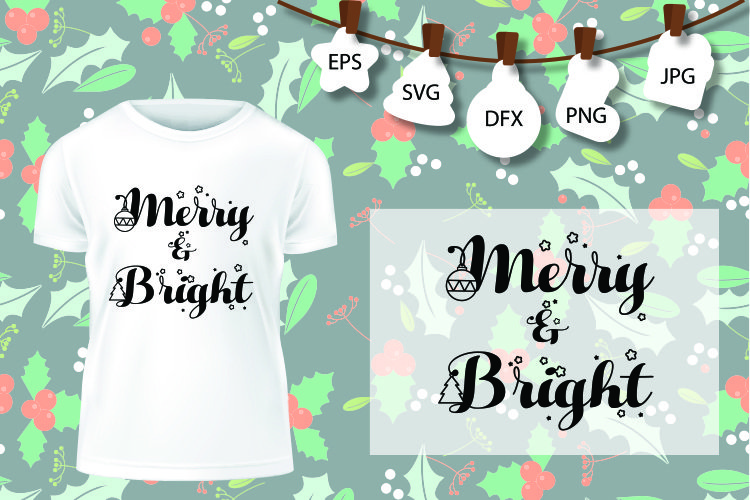 Merry And Bright SVG, Christmas Tree SVG, Christmas SVG example image 1