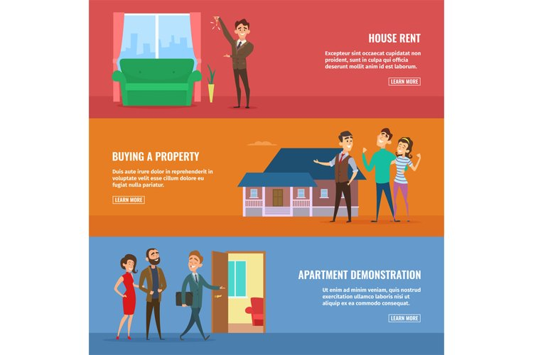 Business concept illustrations set. Real estate agents selli example image 1
