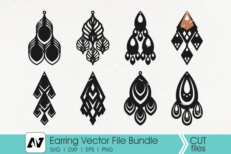 Earring Svg, Earring Template Svg, Leather Earring Svg example image 1