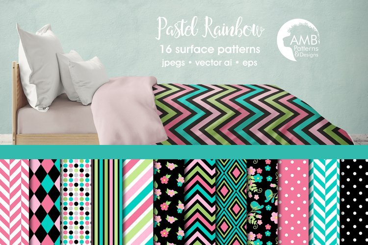 Pastel Rainbow Patterns, Floral Geometric Papers, AMB-1923 example image 1