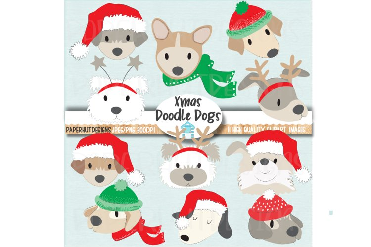 Christmas Doodle Dog Faces Clipart Dog Face Illustrations