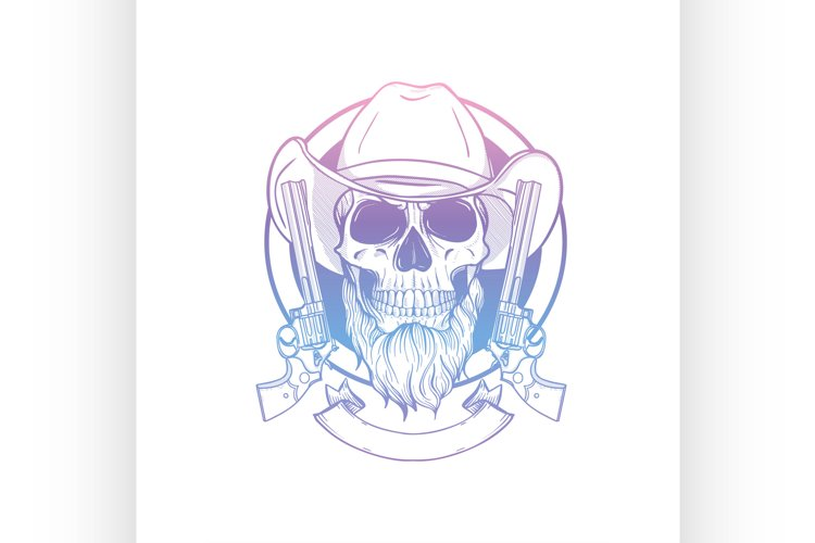 Sketch skull with cowboy hat example image 1