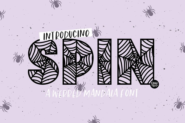 SPIN a Webbed Mandala Halloween Font