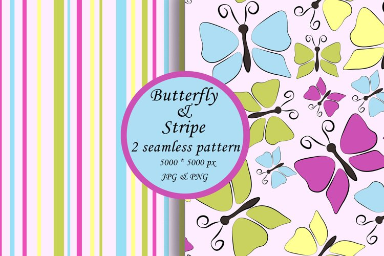 Butterfly seamless pattern, stripe digital paper