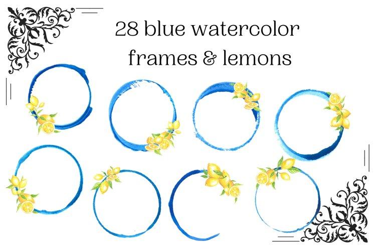 28 Blue watercolor circle frames with lemons