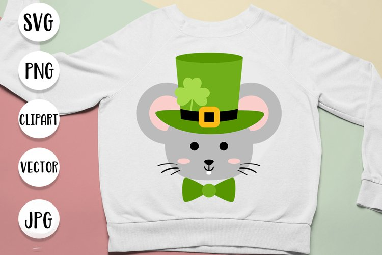 St. Patricks Day Mouse in Hat with Shamrock svg cut files