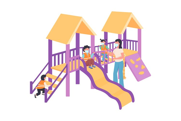 Children and babysitter in medical mask on playground example image 1