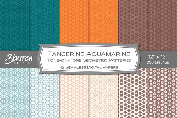 Tangerine Aquamarine Tone on Tone 12 Tileable Patterns