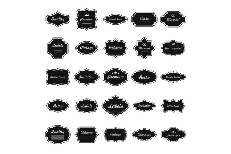 Vintage frame icons set, simple style example image 1