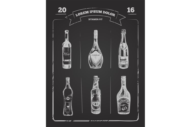 Drinks menu on chalkboard in hand drawn style. Vector Illust example image 1