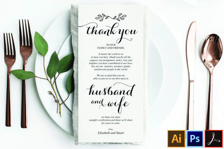 Wedding Place Setting Thank You Card, Instant Download example image 1