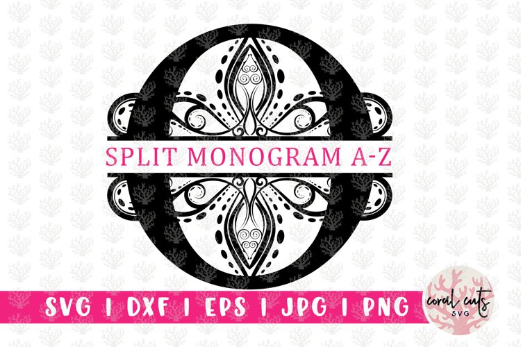 Traditional Split Monogram - Alphabets A to Z EPS SVG DXF example image 1