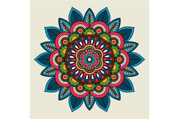 Doodle boho floral colored mandala example image 1
