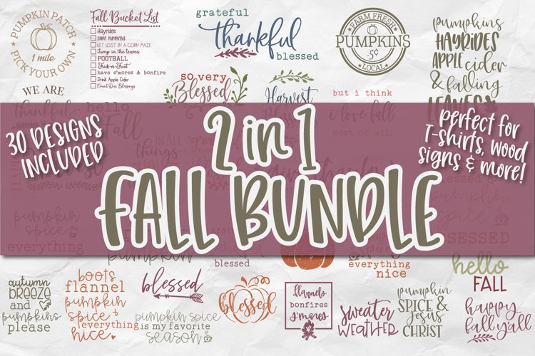 Fall SVG Bundle, Autumn SVG Bundle, Fall Quotes SVG Bundle example image 1
