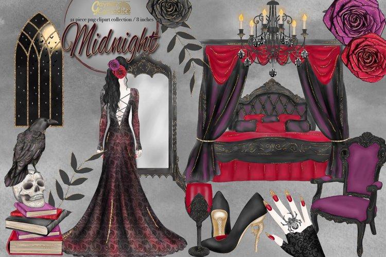 Vampire clipart, Halloween fashion watercolor clip art