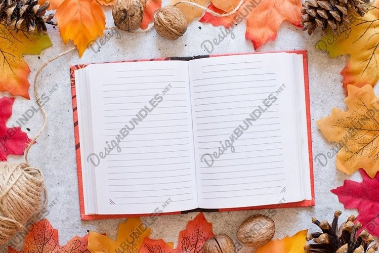 autumn Notebook with clean sheets on grey background example image 1