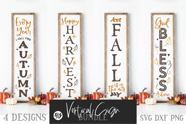 Fall/Autumn Vertical Sign Bundle Vol. 2SVG DXF PNG example image 1