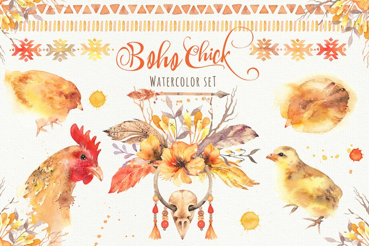 Boho Chick Watercolor Cliparts example image 1