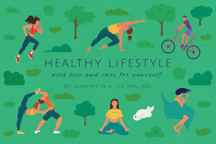 Healthy lifestyle clipart and illustrations. Sports bundle