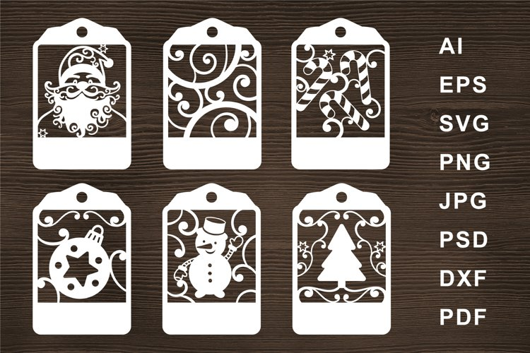 Santa tag SVG Cut file for Crafters. Christmas SVG. Snowman example image 1