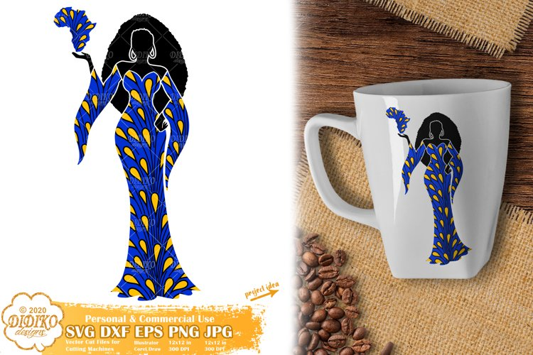 Black Woman SVG, Afro Woman SVG, Africa PNG, Ankara SVG example image 1