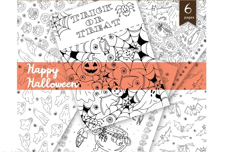 Halloween printable Coloring Pages, Pack of 6, hand drawn example image 1