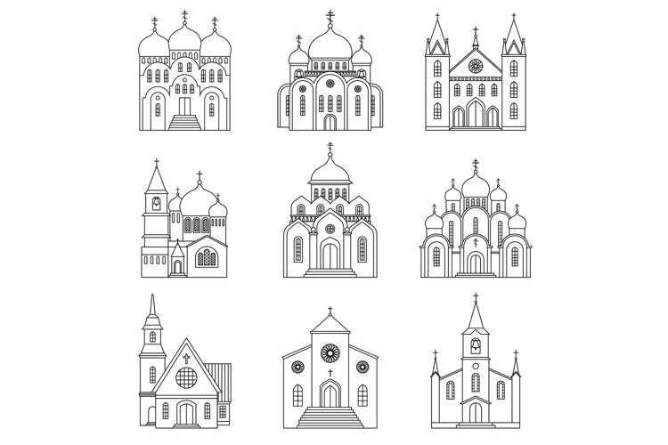 Church linear icons on white background example image 1