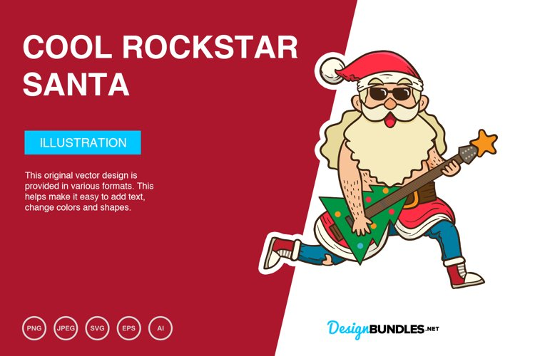 Cool Rockstar Santa Vector Illustration