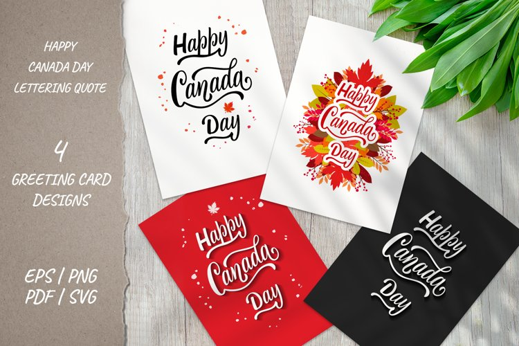 Happy Canada Day Quote cards| 4 designs | EPS PNG PDF SVG