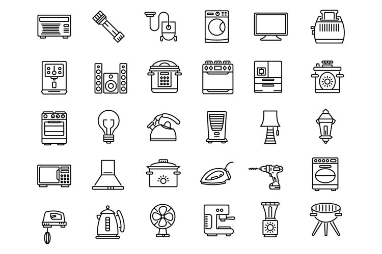 Household devices and appliance outline icons set example image 1