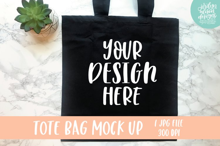Black Tote Bag Mock Up With A Succulent