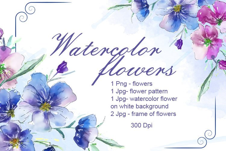 Delicate watercolor flowers example image 1